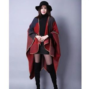 Large cashmere cape shawl 150*130cm red
